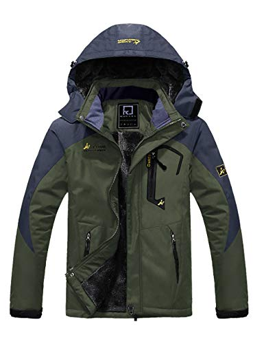R RUNVEL Mens Coats Winter Waterproof Jackets Parka Fleece Softsell Warm Outdoor Rain Hiking Ski Work Fishing Padded Jackets with Hoods Green XL