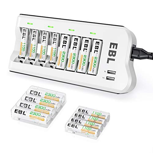 EBL AA 2300mAh (8 Pack) and AAA 1100mAh (8 Pack) Ni-MH Rechargeable Batteries and 808U AA AAA Rechargeable Battery Charger with 2 USB Charging Ports