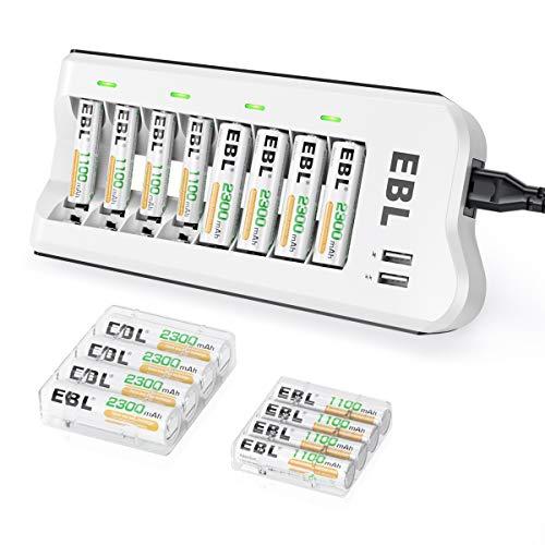 EBL AA 2300mAh (8 Pack) and AAA 1100mAh (8 Pack) Ni-MH Rechargeable Batteries and 808U AA AAA...