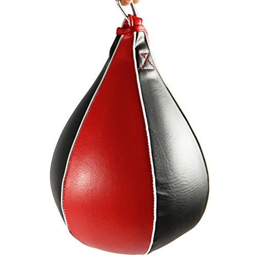LIOOBO 1PC Boxing Speed Ball Bag Speed Training Ball PU Sacco da Boxe in Pelle per Allenamento Agility Training (Nero e Rosso)