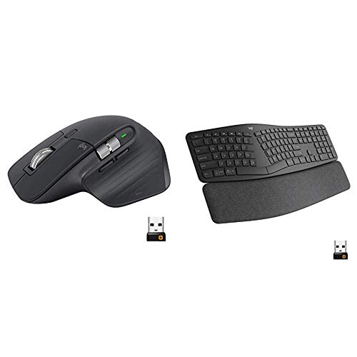 Logitech MX Master 3 Advanced Wireless Mouse - Graphite & Ergo K860 Wireless Ergonomic Keyboard with Wrist Rest - Split Keyboard Layout for Windows/Mac, Bluetooth or USB Connectivity