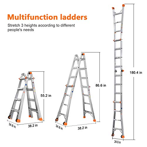 TACKLIFE Telescoping Ladder , 17 Feet Aluminum Extension Ladder with 2 Flexible Wheels, Safe Protective Switch, Non-Slip Rubber Feet, 300lb Capacity Multi-Use Ladder …