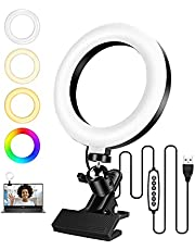 Selfie Ring Light con supporto a morsetto per videoconferenza, OCDAY 6,3 '' RGB Small Circle Light, Mini Led Ringlight Clip per laptop, YouTube, Makeup, Live Streaming, Tiktok
