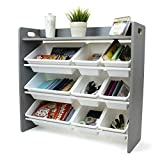 Humble Crew Inspire Toy Organizer with Shelf and 9 Storage Bins, Grey/White
