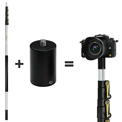 DocaPole 24 Foot Camera Pole – 6-24 ft Extension Pole + ClickSnap Camera Adapter for GoPro, Camera or Video Camera   Provides up to 30 Feet of Reach   Painters Pole Camera Adapter
