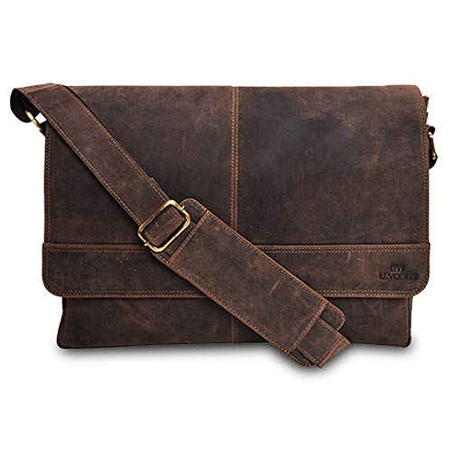 Genuine Leather Messenger Bag for Men and Women - 14 inch Laptop Bag for College Work Office by LEVOGUE (BROWN CRAZY HORSE)
