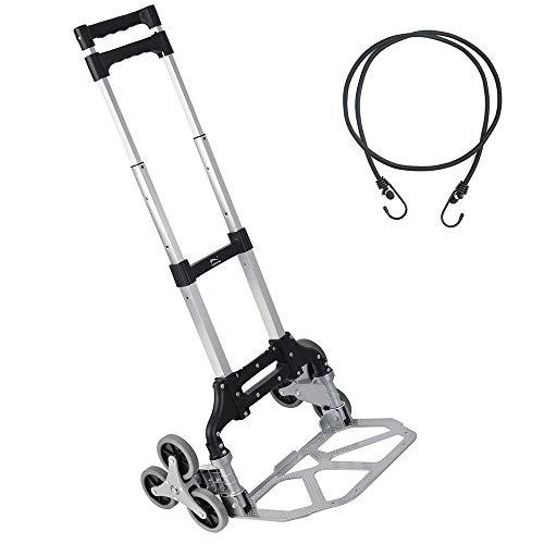 Stair Climbing Cart with TPR Wheels, 2 Climbing Ropes Heavy Duty,Aluminum Alloy Portable Climbing Cart 6 Crystal Wheels All Terrain Stair Climbing...