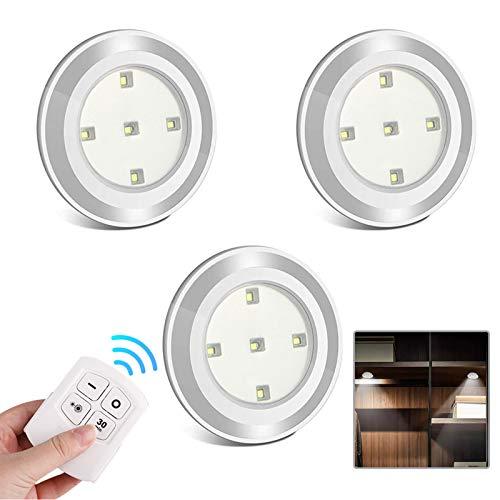 LED Schrankbeleuchtung Batterie mit Fernbedienung - 3 Stück Led Spot Batteriebetrieben Lampe Unterbauleuchte Küche Kabellos Vitrinenbeleuchtung Schrankleuchten Klebeleuchte Touch Lampen Zum Kleben