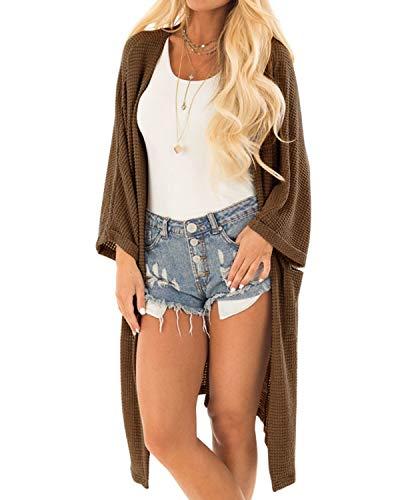 YOINS Strickjacke Damen Herbst Winter Strickmantel Elegante Sweatshirt Kimono Strickpullover Langen Casual Sweater Cardigan Jacke Tops Outwear Pullover Braun M