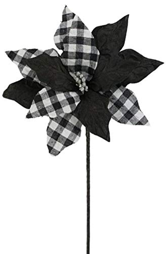 Craig Bachman 24' Check Poinsettia Stem: Black/White - Buffalo Plaid Poinsettia Floral Stem