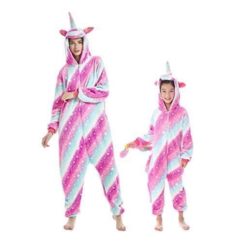 Debaijia Kinder-Pyjama aus Flanell/ Jumpsuit für Jungen und Mädchen, Warme Nachtwäsche, 3 bis 11Jahre Gr. 165(Hauteur recommandée: 179-188cm), himmelblau