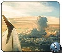 飛行機の窓からの眺め87565パーソナライズされた長方形のマウスパッド、印刷された滑り止めゴム快適なカスタマイズされたコンピューターマウスパッドマウスマットマウスパッド