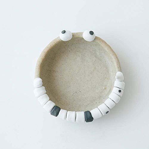 BXU-BG Cenicero para cenicero de interior con tapa, diseño de personalidad, divertido expresión cenicero de cerámica regalo hecho a mano decoración regalo hogar