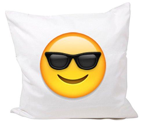 Druckerlebnis24 Funda de Almohada 40x40 Cara con Gafas de Sol de Microfibra, Smiley, Emoji, Cojines, Decorativo, Malla, Almohada para el Cuello, el iPhone, emoticonos.