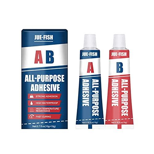 AB Caster Glue, Pasta de reparación de metal para soldadura en frío, Pegamento de soldadura mágico 2 botellas, Pegamento adhesivo fuerte para reparar tanques de combustible, tuberías, 20 g / 80 g