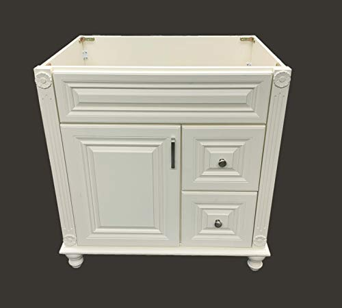 Antique White Solid Wood Single Bathroom Vanity Base Cabinet 30