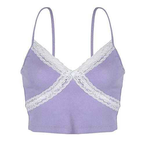Glamaker Women's Lace Patchwork Y2K Crop Top Sexy V Neck Spaghetti Strap Camisole Printed Slim E-Girl Tank Tops A-Purple White Large