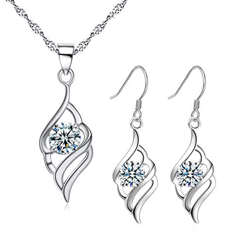 Hanie Silver Jewellery Set for Women, 925 Sterling Silver Angel Wing Drop Dangle Hook Earrings & Necklace Pendant Set, Allergen-Free Jewellery as Christmas Gift for Mother Wife Girlfriend