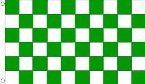 3 FT X 2 Ft (90 x 60 cm) Vert & Blanc à Carreaux Carreaux Matériau 100% Polyester Drapeau