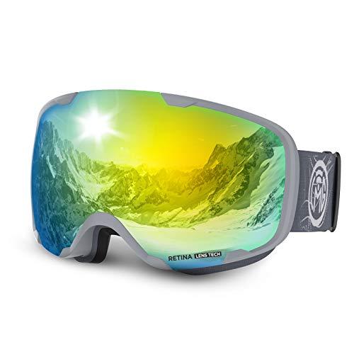 LEMEGO Gafas de Esquí, Antivaho Máscara de Esquí Lentes Esféricas Dobles Gafas de Snowboard UV400 Protección OTG Ski Goggles Casco Compatible para Hombres y Mujeres Jóvenes