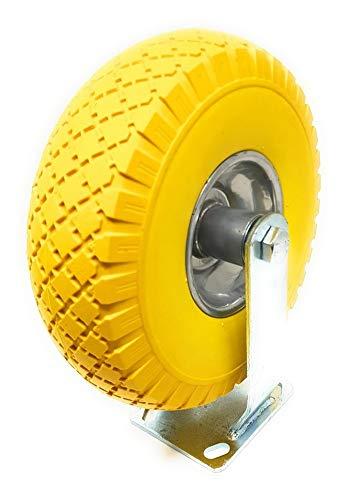 DWT-Germany 100757 - Ruedas fijas para transporte (10 pulgadas, goma maciza, giratorias, poliuretano, sin pinchazos)