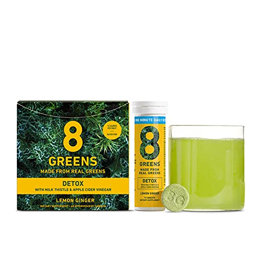 8Greens Detox Effervescent Tablets - Packed with 8 Powerful Super Greens (6 Tube/60 Tablets)