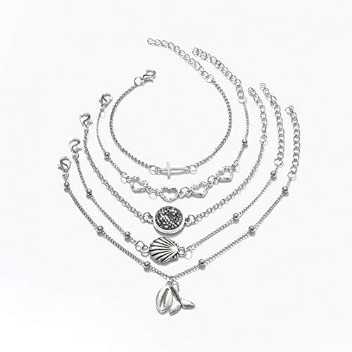 DMUEZW Crystal Heart Shell Cross Tail Charm Beads Pulsera Conjunto para Las Mujeres Colgantes Pulseras Pulsera brazaletes joyería