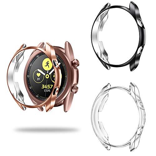 Fintie Hülle kompatibel mit Samsung Galaxy Watch 3 41mm Smart Watch - [3 Stück] Ultra-Dünn Leichte Schutzhülle Polycarbonat Schutz Gehaüse Abdeckung, Schwarz/Roségold/Transparent