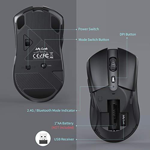 Jelly Comb Bluetooth und 2.4G Kabellose Maus, Dual Modus Funkmaus DPI 1000/1600/2400 Einstellbar, Computermaus für Laptop/PC/Tablet/Handy, Windows/Android/Mac OS, Schwarz