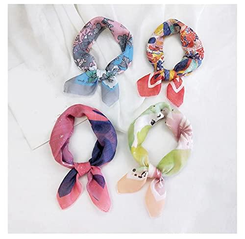 4pcs Algodón Lino Cuadrado Bufanda Femenina Fina Headscarf Hojas Flores Mujeres Pequeño Pañuelo Pulsera Bufanda Decorativa