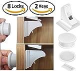 DREAMTIMEJOY Premium Kindersicherheitsschranke Magnetic Adhesive Locks Latch Set für Schubladen, Schrank, Schränke | Keine Bohrung | Keine Werkzeuge oder Schrauben benötigt | 8 locks +2 keys