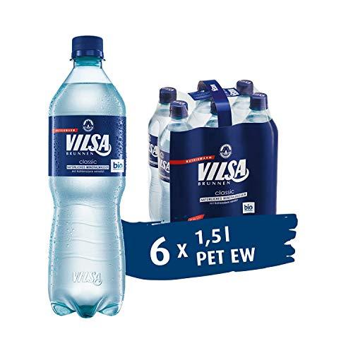 VILSA Mineralwasser classic, 6er Pack Mineralwasser mit Kohlensäure, natriumarm, in Einwegflaschen (6 x 1,5 l PET)