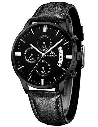 MEGALITH Herrenuhr Militär Schwarz Chronographen Sport Wasserdicht Leder Armbanduhr Design Business Datum Modisch Analog Uhren
