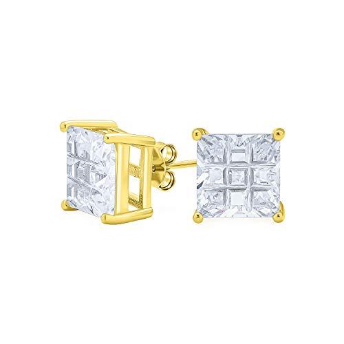 bling jewelry orecchini .50Ct Quadrato AAA CZ Cubic Zirconia Orecchini a bottone taglio invisibile per uomo per donna 14K oro placcato 925 argento sterling