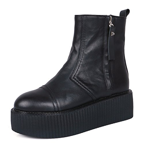 RoseG Damen Leder Platform Stiefel Plateauschue Creepers Chelsea Bottes Size37