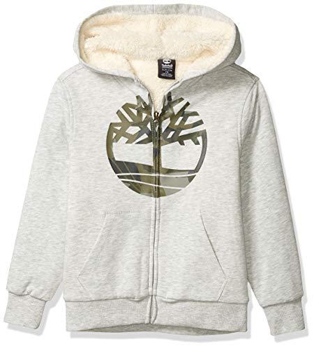 Timberland Jungen Sherpa Lined Fleece Full Zip Hoodie Kapuzenpulli, Grau-Light Gray Heather, XL