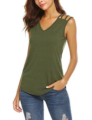 Parabler Damen Sommer Sexy Tank Top Ärmellos T-Shirt Spaghetti Tops Schulterfrei Bluse Oberteile (M, Armeegrün)