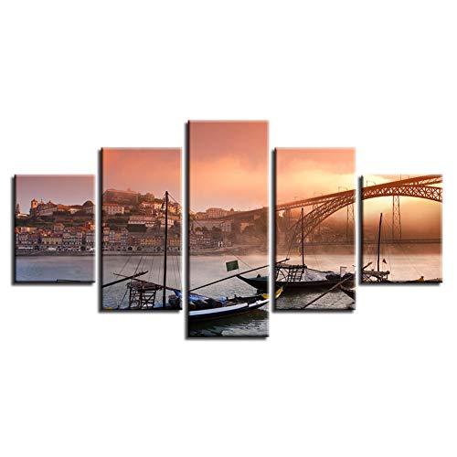 CNCN Framework Canvas Poster Wall Art HD Prints 5 Stuks Porto Ponte Brug Schilderen Modulaire Boten Foto's Woonkamer Decor Frame 30x40 30x60 30x80cm