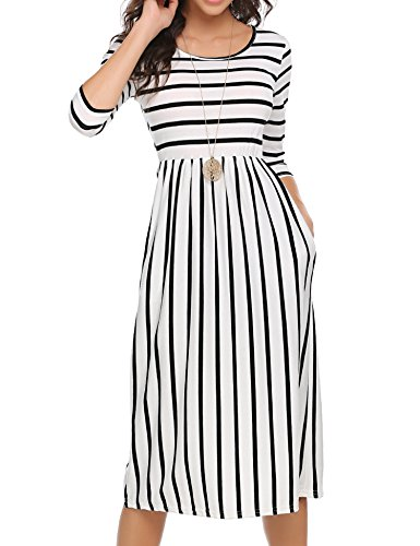 Halife Women 3/4 Sleeve Striped Wear to Work Business Cocktail Midi Dress White,XXL