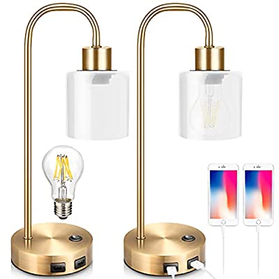 Gold Industrial Table Lamps for Bedrooms Set of 2, Elizabeth Vintage Bedside Lamp with USB Port, BrassMetal Nightstand Lamp,Modern Desk Lamp with Dimmable Edison-Bulb,GlassShade for Living Room,Office