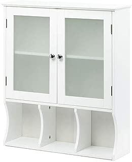"Thaweesuk Shop MDF Wood Glass Door White Wall Hanging Medicine Cabinet Bathroom Storage Shelf Organizer 23.6""x7.38""x26.9"" (LxWxH) of Set"
