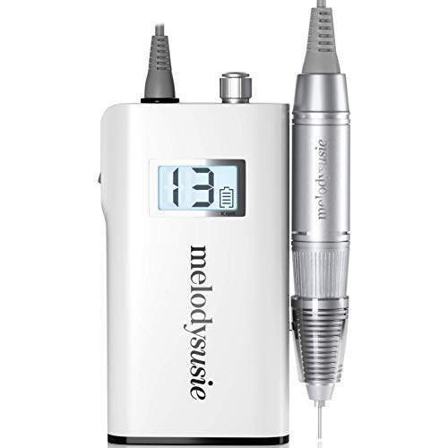 MelodySusie Professional Rechargeable 30000 rpm Nail Drill, Portable Electric E File Scamander, Acrylic Gel Grinder Tools with 6 Bits and Sanding Bands for Manicure Pedicure Shape Carve Polish (White)