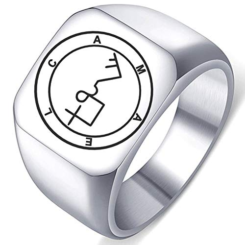 Engraved Silver Demons Symbol Sigils of Summoning Stainless Steel Camael The Destroyer Ring