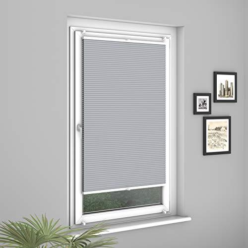 Fensterdecor Klemmfix Premium Plus Waben-Plissee, Doppel-Plissee mit Klemmträgern, Honigwaben-Plissee ohne Bohren in Grau, lichtundurchlässig und Blickdicht, 100 x 130 cm