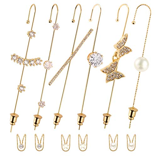 LUTER 12Pcs Ear Wrap Earrings Ear Cilps for Women, Gold Hypoallergenic Piercing Ear Cuff Wrap Crawler Rhinestone Ear Hook Earrings for Women Party Wedding