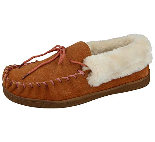 Cushion Walk Ladies Real Suede Leather Faux Sheepskin Fur Lined Moccasin Slippers Size 4-8 (UK 8/ EU 41, Tan)