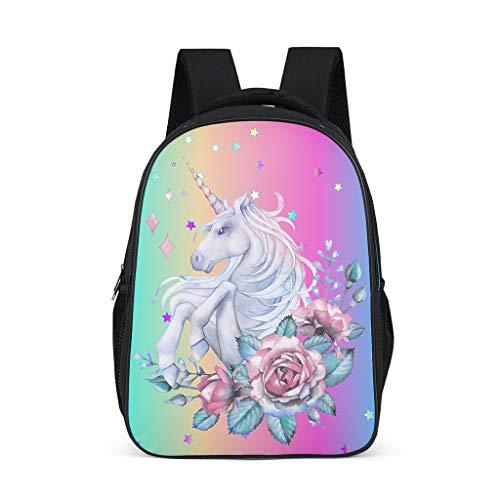 Dofeely Unicorn druk dagrugzak schooltas mini schooltas meisjes en jongen functionele rugzak dagrugzak voor meer opbergruimte Trekking 32 cm x 18 cm x 42 cm polyester