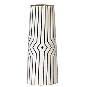 "Silk Flower Arrangements LIONWEI LIONWELI 12"" White Gold Stripe Finish Ceramic Flower Vase Home Decor Vase and Table Centerpieces Vase - Ideal Gifts for Friends and Family, Christmas, Wedding, Bridal Shower"