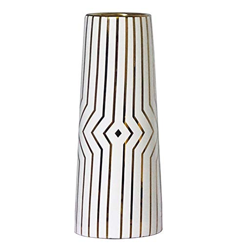 HCHLQLZ 30cm Bianco Oro Striscia Fiori Vaso Decorativo di Design Moderno Collection per Ricorrenze Decorazioni per Interni Ristorante Bar Cafe Porcellana