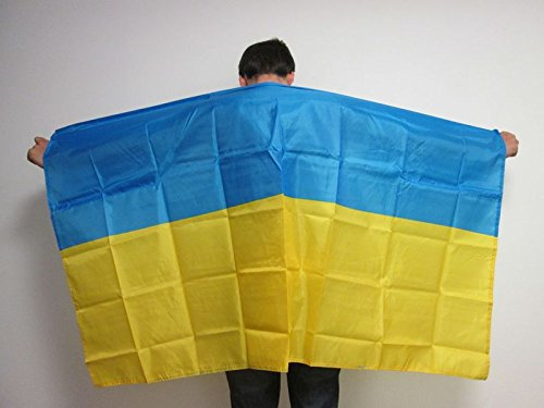 AZ FLAG UMHANGFLAGGE Ukraine 150x90cm - UKRAINISCHE Cape Fahne 90 x 150 cm - flaggen